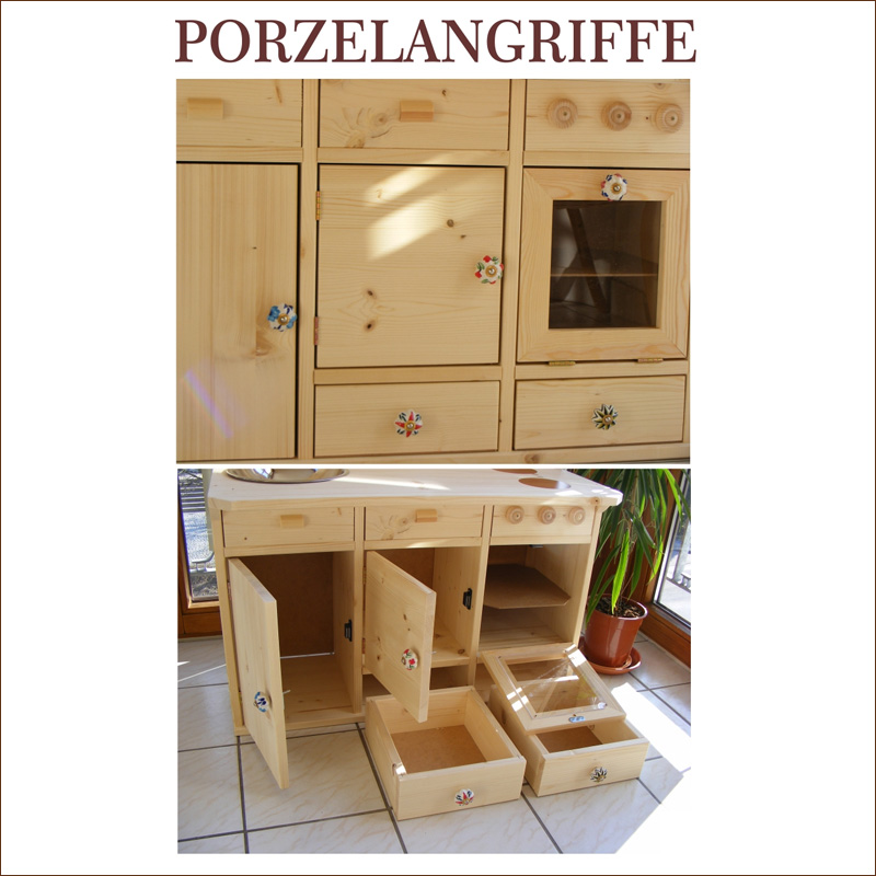 kinderk che spielk che lara aus massivholz mit porzellangriffen. Black Bedroom Furniture Sets. Home Design Ideas