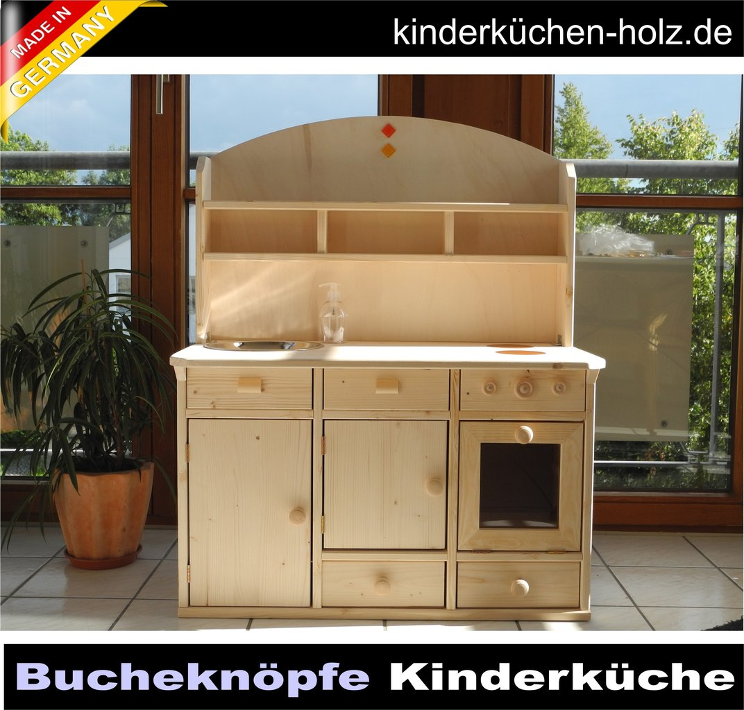 KinderkUche Holz Deutschland ~ Kinderküche, Spielküche LARA aus Massivholz mit Bucheknöpfen