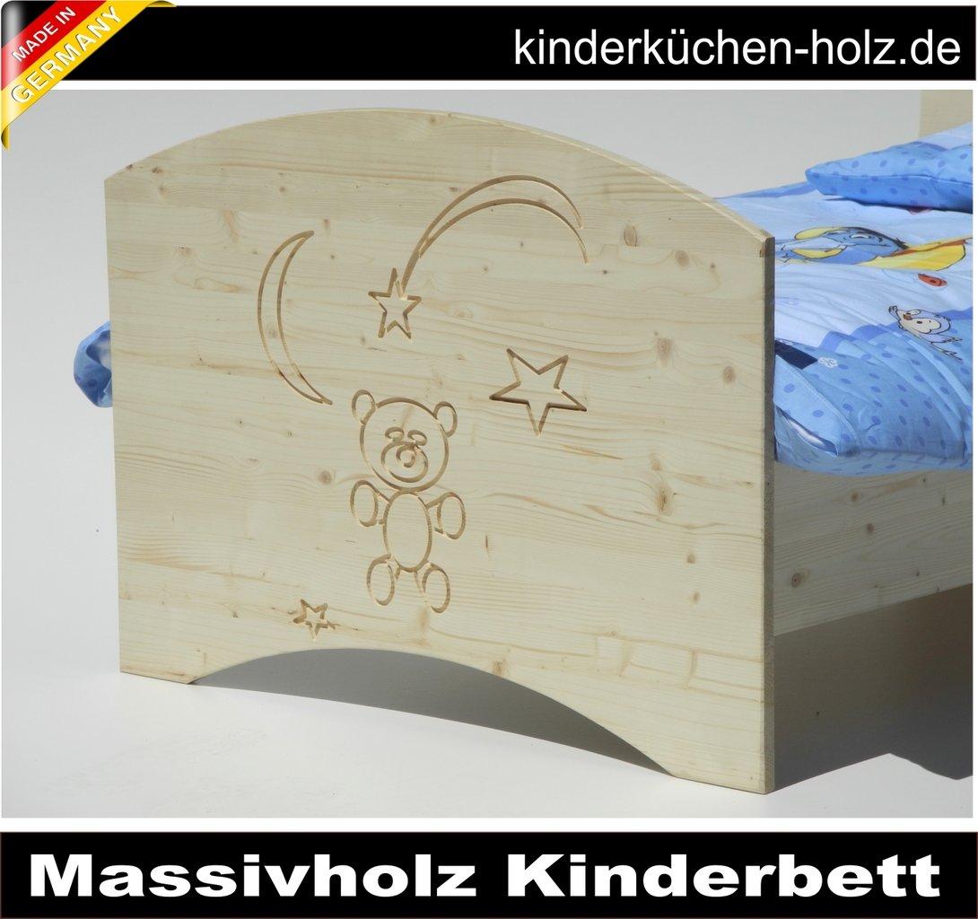 Kinderbett aus massivholz natur bar im mond 140 x 70 cm for Kinderküchen aus holz