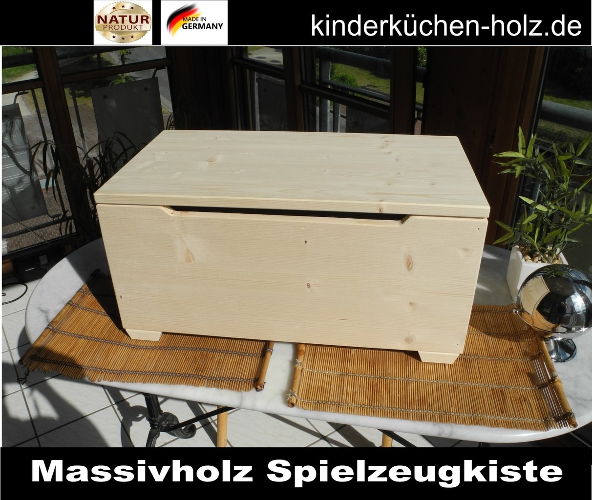 spielzeugkiste spielzeugtruhe aus massiv holz gr e s. Black Bedroom Furniture Sets. Home Design Ideas