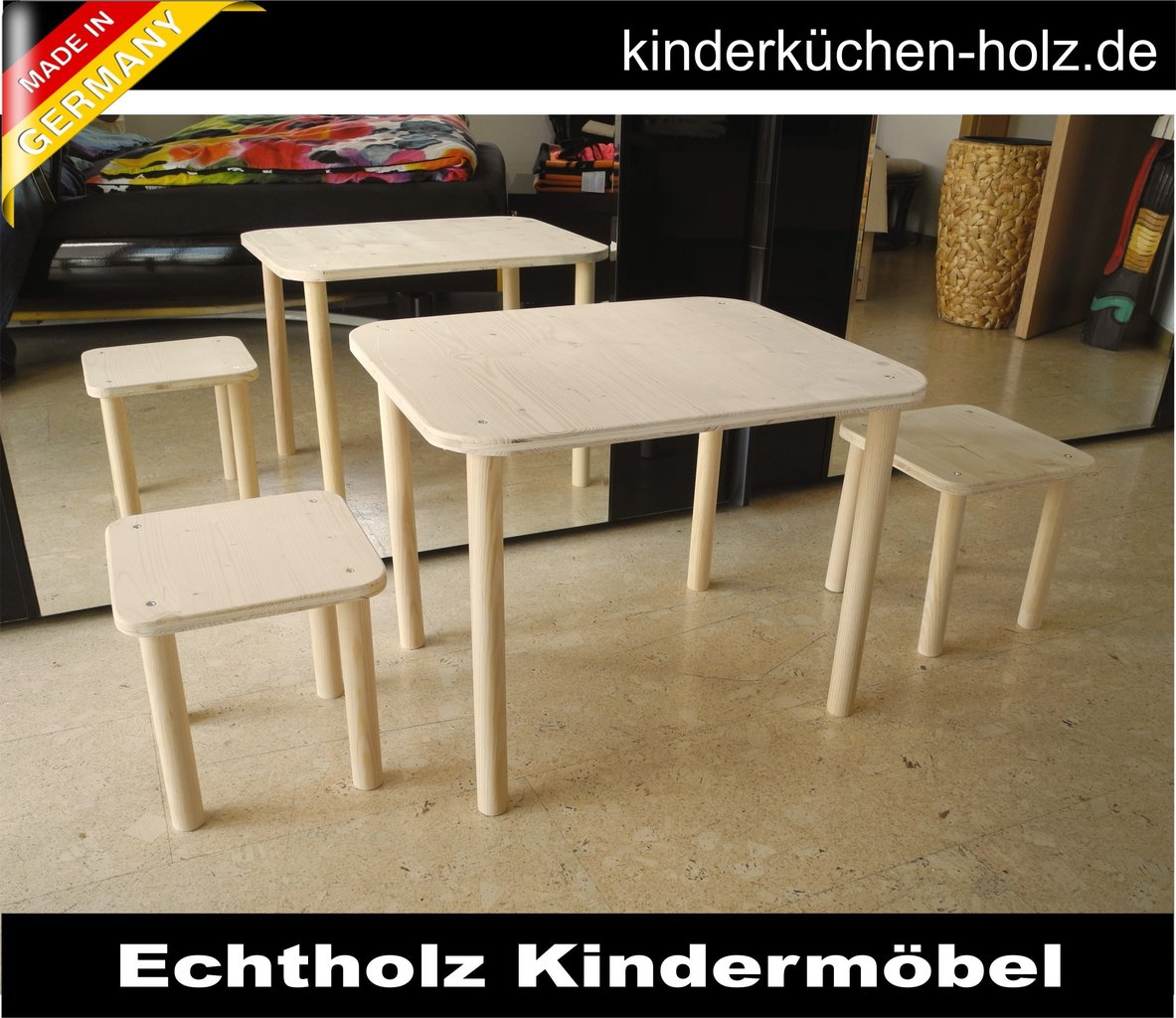 kinderm bel set 1 tisch und zwei st hle aus echtholz. Black Bedroom Furniture Sets. Home Design Ideas